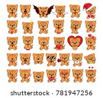 a large set of small dogs from... | Shutterstock .eps vector #781947256