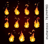 sprite sheet of fire  torch.... | Shutterstock .eps vector #781949983