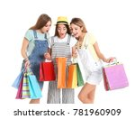 excited young women with... | Shutterstock . vector #781960909