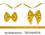 set of shiny red ribbon bows...   Shutterstock . vector #781964029