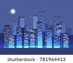night city background. vector...   Shutterstock .eps vector #781964413