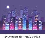 night city background. vector... | Shutterstock .eps vector #781964416
