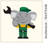 funny elephant in wearing... | Shutterstock .eps vector #781975108