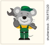 funny mouse in wearing overalls ... | Shutterstock .eps vector #781975120