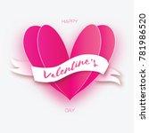 pink heart shape. love in paper ...   Shutterstock .eps vector #781986520