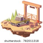 vector low poly pickup truck... | Shutterstock .eps vector #782011318