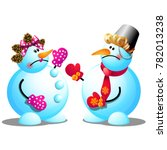two snowmen argue and swear... | Shutterstock .eps vector #782013238