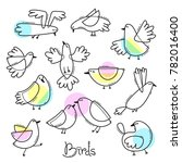 set variety of abstract birds.... | Shutterstock .eps vector #782016400