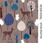 natural pattern design. deer in ... | Shutterstock .eps vector #782018536