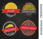 set of pizza logo concept for...   Shutterstock .eps vector #782023933