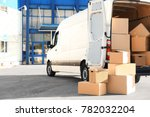 open car trunk with moving... | Shutterstock . vector #782032204