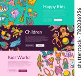 vector horizontal banners with... | Shutterstock .eps vector #782036956