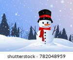christmas snowman in snow... | Shutterstock .eps vector #782048959