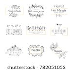 vector trendy hand drawn beauty ... | Shutterstock .eps vector #782051053