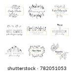 vector trendy hand drawn beauty ... | Shutterstock .eps vector #782051053