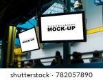 two mock up white screen blank... | Shutterstock . vector #782057890