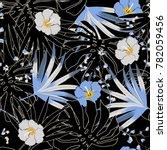 dark tropical vector seamless... | Shutterstock .eps vector #782059456