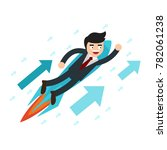 lift off. businessman flying up ... | Shutterstock .eps vector #782061238