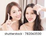 Two Beauty Woman Making Frame...