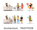 minimal  people  at shopping in ... | Shutterstock .eps vector #782079358