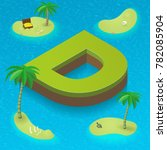 Isometric Letter D  Surrounded...