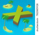 isometric letter x as an island ... | Shutterstock .eps vector #782085928