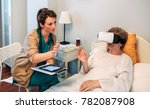 older patient using virtual... | Shutterstock . vector #782087908