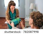 grateful senior female patient... | Shutterstock . vector #782087998
