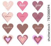 set of hearts of different ...   Shutterstock .eps vector #782088094