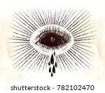 black empty evil eye crying... | Shutterstock .eps vector #782102470