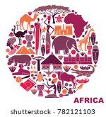 traditional symbols of africa...   Shutterstock .eps vector #782121103