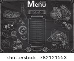 vector template with salad... | Shutterstock .eps vector #782121553