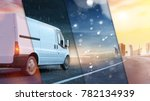 delivery van on road with... | Shutterstock . vector #782134939