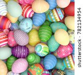 heap of many colorful eggs for... | Shutterstock . vector #782134954