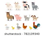 Stock vector farm animals set in flat style isolated on white background vector illustration cute cartoon 782139340