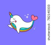 unicorn whale narval with... | Shutterstock .eps vector #782140333