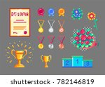 pixel art trophies and medals... | Shutterstock .eps vector #782146819