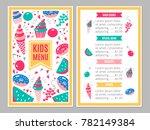 cute colorful children's menu.... | Shutterstock .eps vector #782149384
