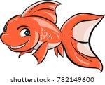 a happy goldfish vector... | Shutterstock .eps vector #782149600