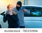robber with gun attacking at... | Shutterstock . vector #782152006