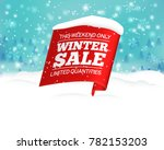 winter sale background with red ... | Shutterstock .eps vector #782153203
