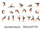 positions of yoga icons set....   Shutterstock .eps vector #782165770