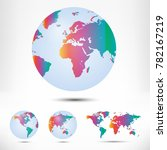 world map and globe detail... | Shutterstock .eps vector #782167219