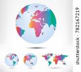 world map and globe detail... | Shutterstock .eps vector #782167219