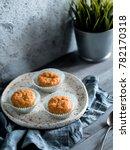 homemade muffins on craft plate ...   Shutterstock . vector #782170318