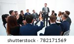 skilled coach asks questions to ... | Shutterstock . vector #782171569
