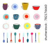 cups mugs plates dishes... | Shutterstock .eps vector #782176660