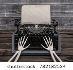 hands of the skeleton prints on ...   Shutterstock . vector #782182534