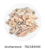 raw frog's legs on a white... | Shutterstock . vector #782183440