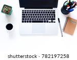 home office desk with laptop ...   Shutterstock . vector #782197258